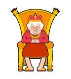Βασίλισσα στο θρόνο Προϊστάμενος ηλικιωμένων κυριών Βασιλική καρέκλα επίσης corel σύρετε το διάνυσμα απεικόνισης ελεύθερη απεικόνιση δικαιώματος