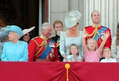 Βασίλισσα Elizabeth, Λονδίνο, UK, στις 9 Ιουνίου 2018 - Meghan Markle, πρίγκηπας Harry, πρίγκηπας George William, Charles, Κέιτ Μ στοκ εικόνες