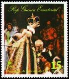 Βασίλισσα Elizabeth II σε μια δημόσια περίπτωση, Coronation, η τελετή serie, circa 1977 στοκ εικόνες