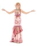 Βασίλισσα έλξης πορτρέτου στη ρόδινη εκτέλεση φορεμάτων βραδιού Στοκ Εικόνα