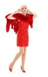 Βασίλισσα έλξης στο κόκκινο φόρεμα με την εκτέλεση γουνών Στοκ Εικόνα