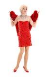 Βασίλισσα έλξης στο κόκκινο φόρεμα με την εκτέλεση γουνών Στοκ εικόνες με δικαίωμα ελεύθερης χρήσης