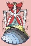 Βασίλισσα κοστουμιών φαντασίας σκίτσων Στοκ Φωτογραφίες