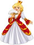 Βασίλισσα που φορά την κόκκινη εσθήτα διανυσματική απεικόνιση