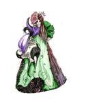 Βασίλισσα φορεμάτων σκίτσων της φαντασίας Στοκ φωτογραφία με δικαίωμα ελεύθερης χρήσης