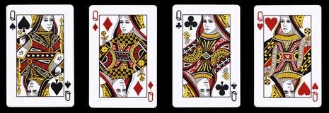 4 βασίλισσες σε μια σειρά - κάρτες παιχνιδιού Στοκ φωτογραφία με δικαίωμα ελεύθερης χρήσης