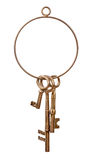 Βασικά δαχτυλίδι και κλειδιά ορείχαλκου Στοκ φωτογραφία με δικαίωμα ελεύθερης χρήσης