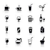 βασικά εικονίδια ποτών Στοκ Εικόνες