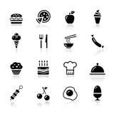βασικά εικονίδια τροφίμω&n Στοκ Φωτογραφία