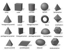 Βασικές τρισδιάστατες γεωμετρικές μορφές η ανασκόπηση απομόνωσε το λευκό διάνυσμα Στοκ Εικόνες