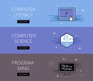 Βασική εκπαίδευση υπολογιστών Πληροφορική προγραμματισμός Διανυσματικά εμβλήματα Στοκ Φωτογραφία