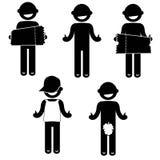 Βασική επιχείρηση ιματισμού σημαδιών εικονιδίων ανθρώπων στάσης ατόμων Στοκ Εικόνες