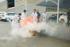 Βασική κατάρτιση τρυπανιών πυρκαγιάς προσβολής του πυρός και εκκένωσης σε Octobe στοκ εικόνα