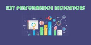 Βασικός δείκτης απόδοσης - KPI - επιχειρηματική κατασκοπεία - ψηφιακή έννοια analytics Επίπεδο διανυσματικό έμβλημα σχεδίου ελεύθερη απεικόνιση δικαιώματος