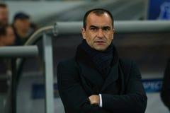 Βασικός προπονητής Roberto Martinez Everton πριν από τον κύκλο ένωσης UEFA Ευρώπη της δεύτερης αντιστοιχίας ποδιών 16 μεταξύ της  Στοκ φωτογραφία με δικαίωμα ελεύθερης χρήσης