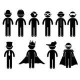 Βασικό κοστούμι ιματισμού σημαδιών εικονιδίων ανθρώπων στάσης ατόμων Στοκ Εικόνα