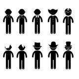 Βασικό κοστούμι ιματισμού σημαδιών εικονιδίων ανθρώπων στάσης ατόμων Στοκ εικόνα με δικαίωμα ελεύθερης χρήσης