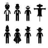 Βασικό κοστούμι ιματισμού σημαδιών εικονιδίων ανθρώπων στάσης ατόμων Στοκ Εικόνες
