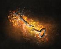 Βασικό σημάδι στις φλόγες πυρκαγιάς Μικτά μέσα Στοκ εικόνες με δικαίωμα ελεύθερης χρήσης