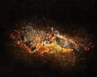 Βασικό σημάδι στις φλόγες πυρκαγιάς Στοκ φωτογραφία με δικαίωμα ελεύθερης χρήσης