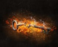 Βασικό σημάδι στις φλόγες πυρκαγιάς Στοκ εικόνα με δικαίωμα ελεύθερης χρήσης