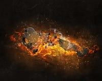 Βασικό σημάδι στις φλόγες πυρκαγιάς Στοκ Φωτογραφίες