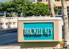 Βασικό σημάδι Brickell στο Μαϊάμι, Φλώριδα Στοκ Φωτογραφίες