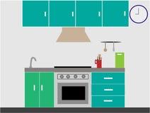 Βασικό σύγχρονο εσωτερικό κουζινών με τα έπιπλα, σόμπα αερίου στα πράσινα και μπλε χρώματα στοκ εικόνες
