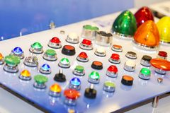 Βασικό swithc, διακόπτης επιλογέων, κουμπί ώθησης swithc, φως σημαδιών Στοκ φωτογραφία με δικαίωμα ελεύθερης χρήσης