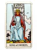Βασιλιάς του διανοητικού λόγου πειθαρχίας Γνωμών εκπροσώπων συζήτησης συνομιλίας επικοινωνίας τρόπων ηθικής ηθών καρτών Tarot ξιφ στοκ εικόνες με δικαίωμα ελεύθερης χρήσης