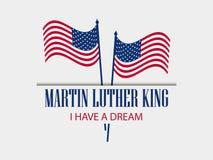βασιλιάς luther Martin ημέρας Έχω ένα όνειρο Το κείμενο με τη αμερικανική σημαία διάνυσμα διανυσματική απεικόνιση