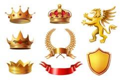 Βασιλικές χρυσές κορώνες βασιλιάδων καθορισμένες, στεφάνια δαφνών και συλλογή βραβείων κορδελλών Στοκ φωτογραφία με δικαίωμα ελεύθερης χρήσης