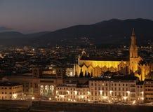 Βασιλική Santa Croce τη νύχτα, Φλωρεντία Στοκ φωτογραφία με δικαίωμα ελεύθερης χρήσης