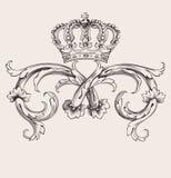 Βασιλικό έμβλημα καμπυλών κορωνών εκλεκτής ποιότητας Στοκ Φωτογραφία