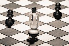 Βασιλιάς σκακιού με τα ενέχυρα Στοκ εικόνες με δικαίωμα ελεύθερης χρήσης