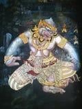 Βασιλιάς της τοιχογραφίας πιθήκων που χρωματίζει το μεγάλο παλάτι Ταϊλάνδη Στοκ Εικόνες