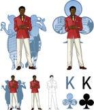 Βασιλιάς του αφροαμερικανού αρσενικού οικοδεσπότη κομμάτων λεσχών με Στοκ Εικόνες