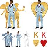 Βασιλιάς του ελκυστικού αφροαμερικανός ατόμου καρδιών με Στοκ Εικόνες