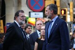 Βασιλιάς του ισπανικού πρωθυπουργού της Ισπανίας και στην εκδήλωση ενάντια στην τρομοκρατία Στοκ Εικόνες