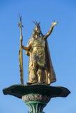 Βασιλιάς Pachacutec Inca στην πηγή Plaza de Armas, Cusco Στοκ εικόνες με δικαίωμα ελεύθερης χρήσης