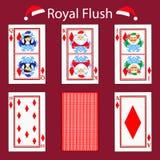 Βασιλικές γρίπες που παίζουν το συνδυασμό πόκερ καρτών Απεικόνιση EPS 10 Σε μια κόκκινη ανασκόπηση Για να χρησιμοποιήσει για το σ Στοκ Φωτογραφία