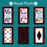 Βασιλικές γρίπες που παίζουν το συνδυασμό πόκερ καρτών Απεικόνιση EPS 10 Σε μια πράσινη ανασκόπηση Για να χρησιμοποιήσει για το σ Στοκ εικόνες με δικαίωμα ελεύθερης χρήσης