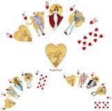 Βασιλική επίπεδη καρδιών μαφία συνδυασμού πόκερ κερδίζοντας Στοκ εικόνα με δικαίωμα ελεύθερης χρήσης