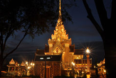 Βασιλική νεκρική πυρά σε Sanam Luang τη νύχτα, Ταϊλάνδη Στοκ φωτογραφία με δικαίωμα ελεύθερης χρήσης