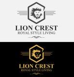 Βασιλική πολυτελής διανυσματική απεικόνιση λογότυπων CREST λιονταριών Στοκ φωτογραφία με δικαίωμα ελεύθερης χρήσης