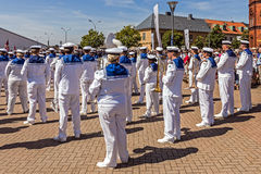 Βασιλική σουηδική ζώνη μαθητών στρατιωτικής σχολής ναυτικού Στοκ Φωτογραφίες