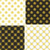Βασιλικοί βασιλιάς & βασίλισσα Seamless Pattern Gold Color σύνολο κορωνών Στοκ εικόνες με δικαίωμα ελεύθερης χρήσης