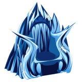 Βασιλικός γοτθικός θρόνος του πάγου, εικόνα στο ύφος κινούμενων σχεδίων διανυσματική απεικόνιση