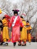 Βασιλικός κύλινδρος που κάνει πατινάζ στη yuanmingyuan έκθεση ναών Στοκ Εικόνες