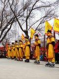 Βασιλικός κύλινδρος που κάνει πατινάζ στη yuanmingyuan έκθεση ναών Στοκ Φωτογραφίες